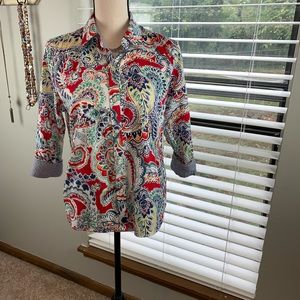 Chaps floral blouse with checked cuffs P/LG